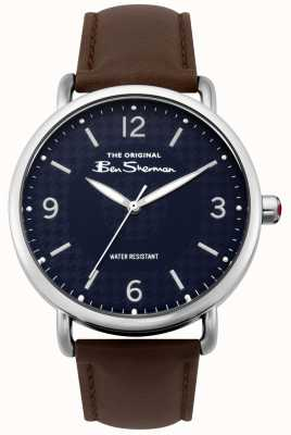 Ben Sherman mattes Marine Zifferblatt dunkelbraunes Armband silbernen Stahl BS015BR