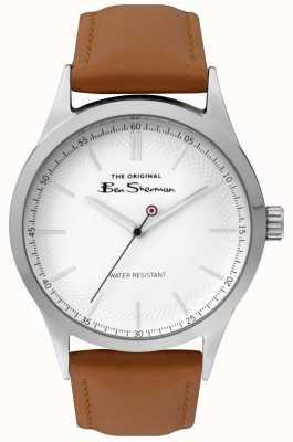 Ben Sherman Mattes weißes Zifferblatt mit silbernem Stahlgehäuse für Herren BS016T