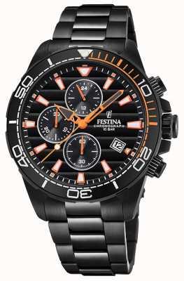 Festina Herren schwarz pvd plattiert Armband schwarz Chrono Zifferblatt Uhr F20365/1