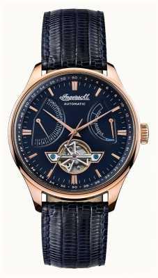 Ingersoll Mens Hawley automatische blaue Zifferblatt blau Lederband I04608