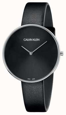Calvin Klein Vollmond schwarzes Leder schwarzes Zifferblatt K8Y231C1