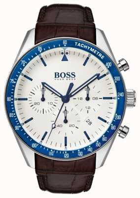 Hugo Boss Mens Trophy weißes Zifferblatt 1513629