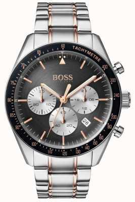Boss Herren Trophäe Uhr grau Chronograph Zifferblatt Edelstahl 1513634