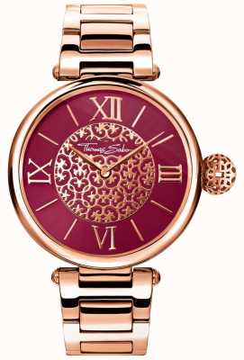 Thomas Sabo Karma Rose Gold Ton Armband rote Sunray Zifferblatt Uhr WA0306-265-212