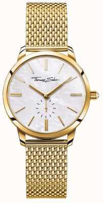Thomas Sabo Glam Spirit Gold Ton Mesh Armband weißes Zifferblatt WA0302-264-213-33