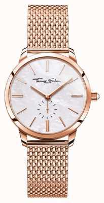 Thomas Sabo Womens Glam Spirit Roségold Ton Mesh Armband weißes Zifferblatt WA0303-265-213-33