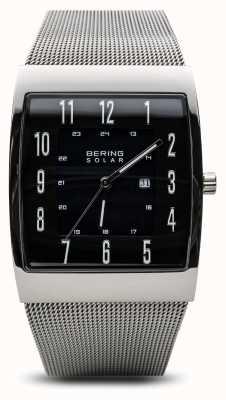 Bering Mens solar poliert Silber Quadrat Mesh Armband Uhr 16433-002