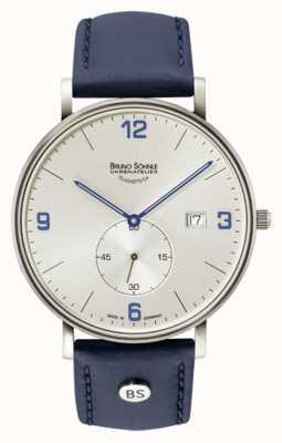 Bruno Sohnle Mens frankfurt großes silbernes Zifferblatt blau Lederband 17-13187-263