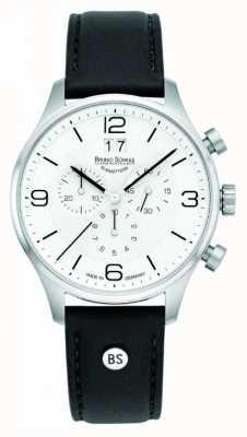 Bruno Sohnle Mens Padua 42mm Chronograph weißes Zifferblatt schwarzes Lederarmband 17-13196-921