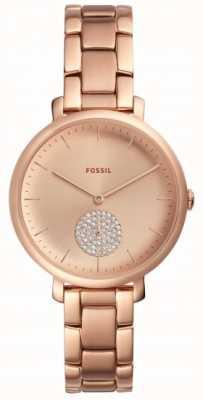 Fossil Jacqueline Rose Gold Ton Armbanduhr einfache Zifferblatt ES4438