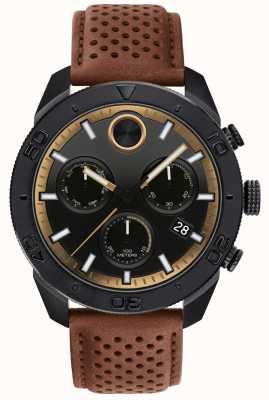 Movado Kräftiger Chronograph für Herren, perforiertes braunes Lederband 3600515