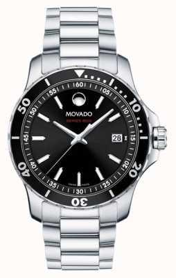 Movado Mens Serie 800 Edelstahl schwarzes Zifferblatt 2600135