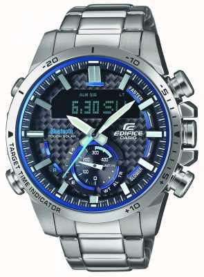Casio Edifice Bluetooth Lap Timer Edelstahl mit blauen Akzenten ECB-800D-1AEF