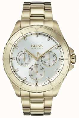 Hugo Boss Womens Premiere Gold überzogenes Armband Silber Zifferblatt 1502445