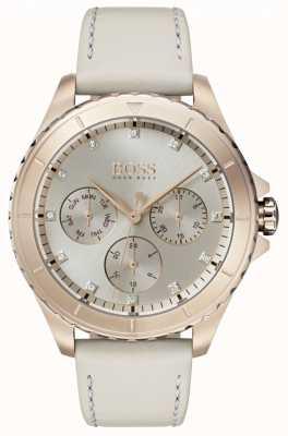 Hugo Boss Womens premiere vergoldetes Gehäuse beige Lederband 1502447