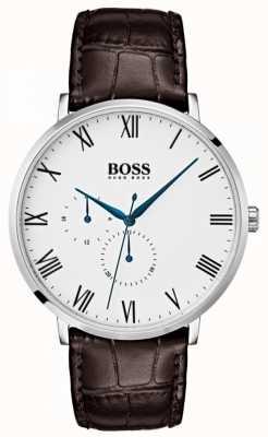 Boss Herren William klassisches braunes Leder weißes Zifferblatt 1513617