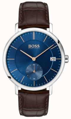 Boss Korporales braunes Lederarmband Herren Blaues Zifferblatt 1513639