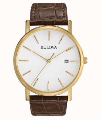 Bulova Klassische braune Lederuhr für Herren 97B100