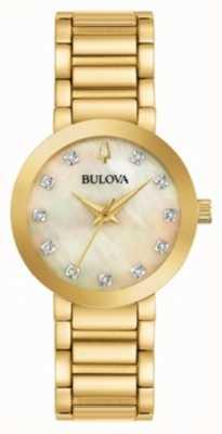 Bulova Damen gold pvd vergoldet Kristall Uhr 97P133