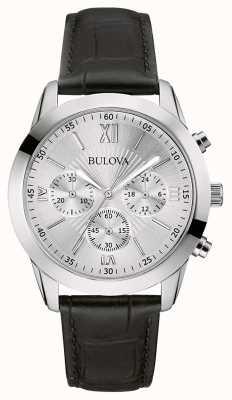 Bulova Herren-Chronograph schwarz Leder-Uhr 96A162