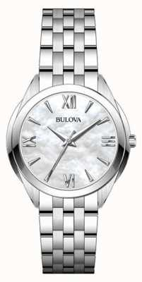 Bulova Damenuhr aus Edelstahl mit Perlmutt-Zifferblatt 96L268