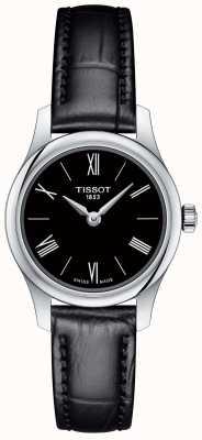Tissot Womens Tradition 5.5 schwarzes Lederarmband schwarzes Zifferblatt T0630091605800