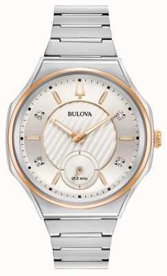 Bulova Unisex-Uhr aus gebogenem Edelstahl und Silber 98P182