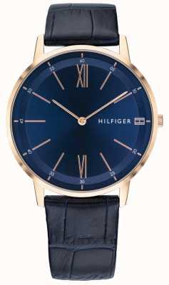 Tommy Hilfiger Herren Cooper Uhr blau Lederband Roségold Ton Gehäuse 1791515