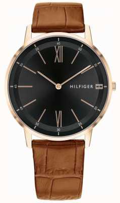 Tommy Hilfiger Herren Cooper Uhr braunes Leder schwarzes Zifferblatt Stahlband 1791516
