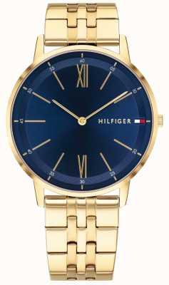 Tommy Hilfiger Cooper Herrenuhr Goldton Armband blaues Zifferblatt 1791513