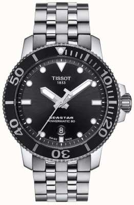 Tissot Mens seastar 1000 powermatic 80 schwarzes Zifferblatt aus Edelstahl T1204071105100