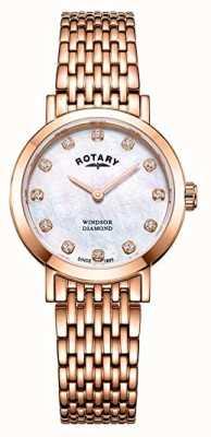 Rotary Womens Windsor Diamant Roségold-Armbanduhr LB05304/41/D
