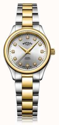 Rotary Damenarmbanduhr mit zweifarbigem Damenarmband in zwei Farben LB05093/44/D