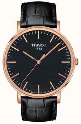 Tissot Mens jedes Mal großes schwarzes Lederarmband schwarzes Zifferblatt T1096103605100