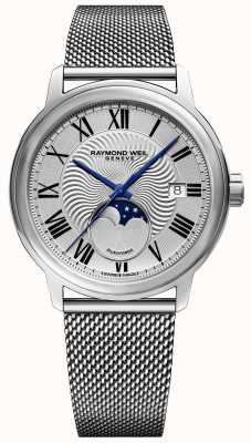 Raymond Weil Mens maestro moonphase Uhr Edelstahl-Mesh-Armband 2239M-ST-00659