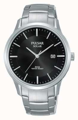 Pulsar Herren Edelstahlgehäuse und Armband solar schwarzes Zifferblatt PX3161X1