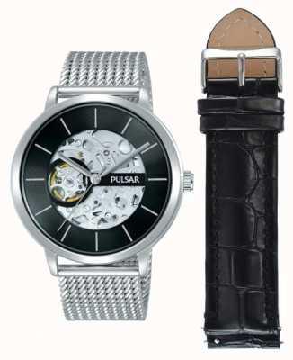 Pulsar Mens Edelstahlgehäuse automatische schwarze Zifferblatt-Uhr-Set P8A001X2