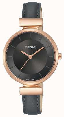 Pulsar Ladies Rosé vergoldetes Gehäuse dunkelgraues Lederarmband PH8420X1