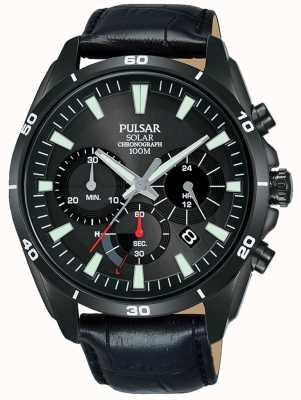 Pulsar Herren schwarzes Lederarmband schwarz Solar Chronograph Zifferblatt PZ5063X1