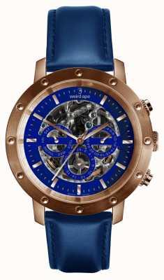 Weird Ape Icarus 3 Zifferblatt blaues Roségold / indigoblaues Lederarmband WA02-005730