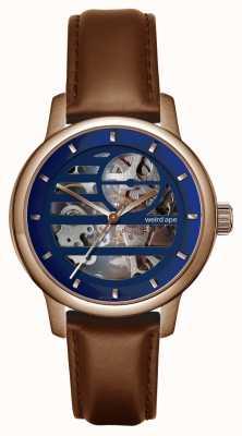 Weird Ape Rosalind-Armband aus blauem Roségold / Eichenleder WA02-005811