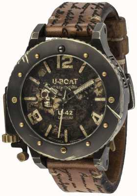 U-Boat U-42 Unicum Vintage-Look automatisches braunes Lederarmband 8188