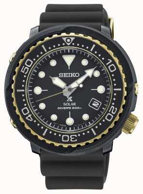 Seiko Herren Thunfisch schwarz und gold Solar Prospex Taucher Uhr SNE498P1