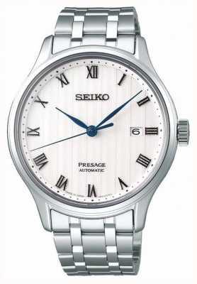 Seiko Presage Herren automatische weiße Zifferblatt Edelstahl Armband SRPC79J1
