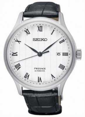 Seiko Presage Mens automatisches weißes Zifferblatt schwarzes Lederarmband SRPC83J1