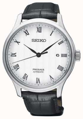Seiko Presage Herren automatisches weißes Zifferblatt schwarzes Lederarmband SRPC83J1