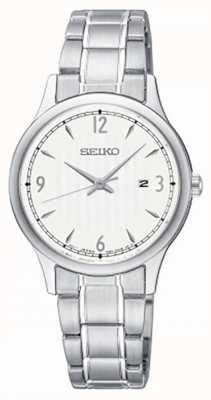 Seiko Klassische Uhr mit weißem Zifferblatt aus Edelstahl für Damen SXDG93P1