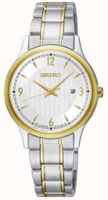 Seiko Klassische Damenuhr mit weißem Zifferblatt und zweifarbigem Zifferblatt SXDG94P1