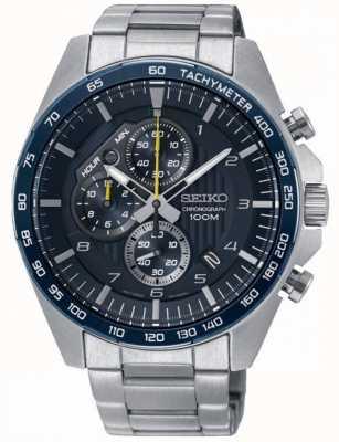 Seiko Mens Motorsport blau Chronograph Stahlarmbanduhr SSB321P1