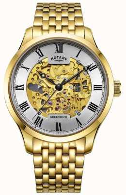 Rotary Herren Greenwich automatische vergoldete Skelettuhr GB02941/03